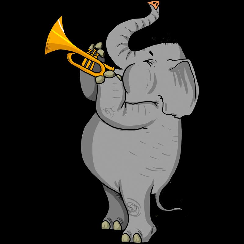 Elefant mit Trompete