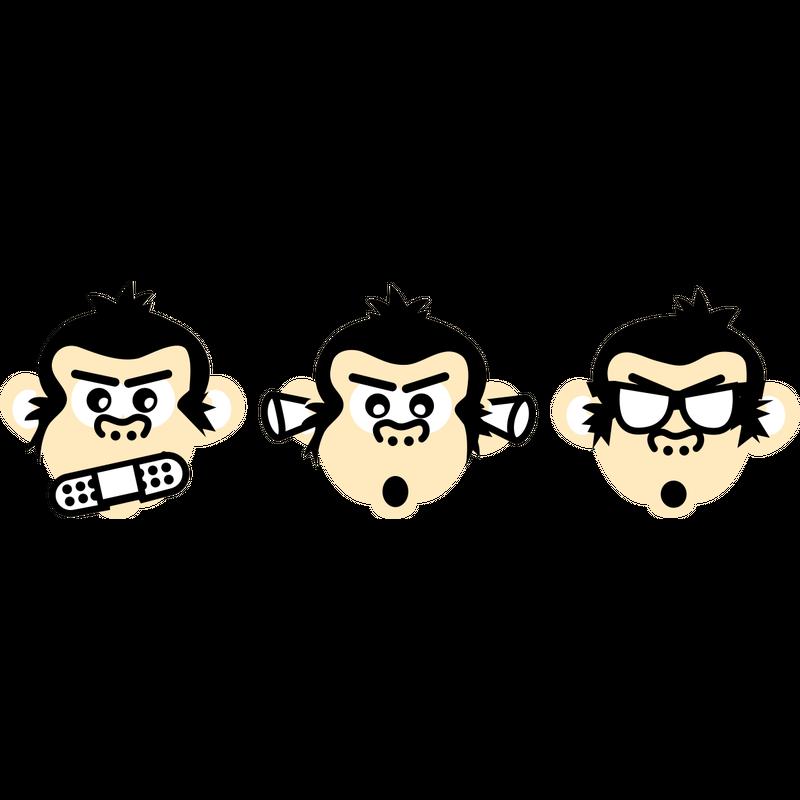 3 Affen nichts sagen hören sehen blind stumm taub